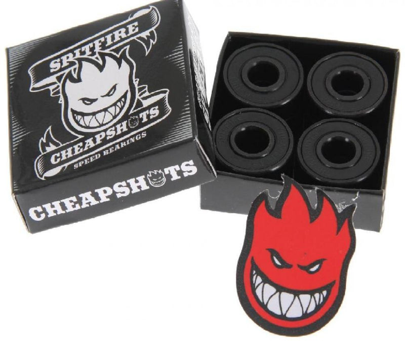 Spitfire Skateboard, Cheapshots Bearings - Black Bearings Spitfire