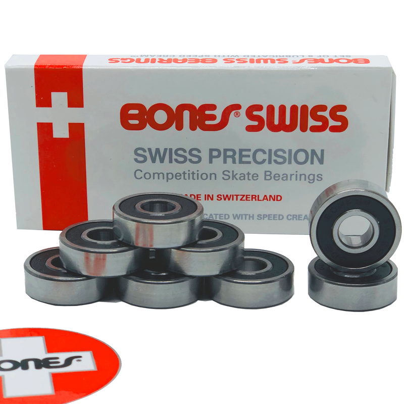 Bones Bearings Swiss Skateboard / Inline / Roller Derby Bearings, 8 Pack