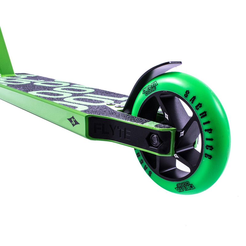 Sacrifice Scooters Flyte 100 Complete Stunt Scooter, Black/Green Stunt Scooter Sacrifice