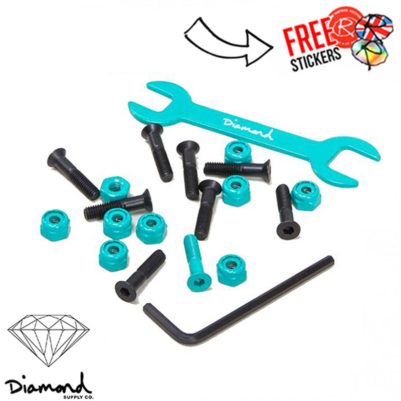 "Diamond Supply Co. Mike Carroll Hardware Bolts 7/8"", Black/Teal Skateboard Diamond Supply Co"