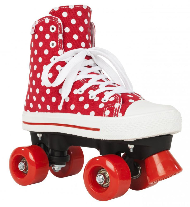 Rookie Rollerskates Canvas High, Polka Dots Red/White Quad Skates Rookie UK7/EU41/US8