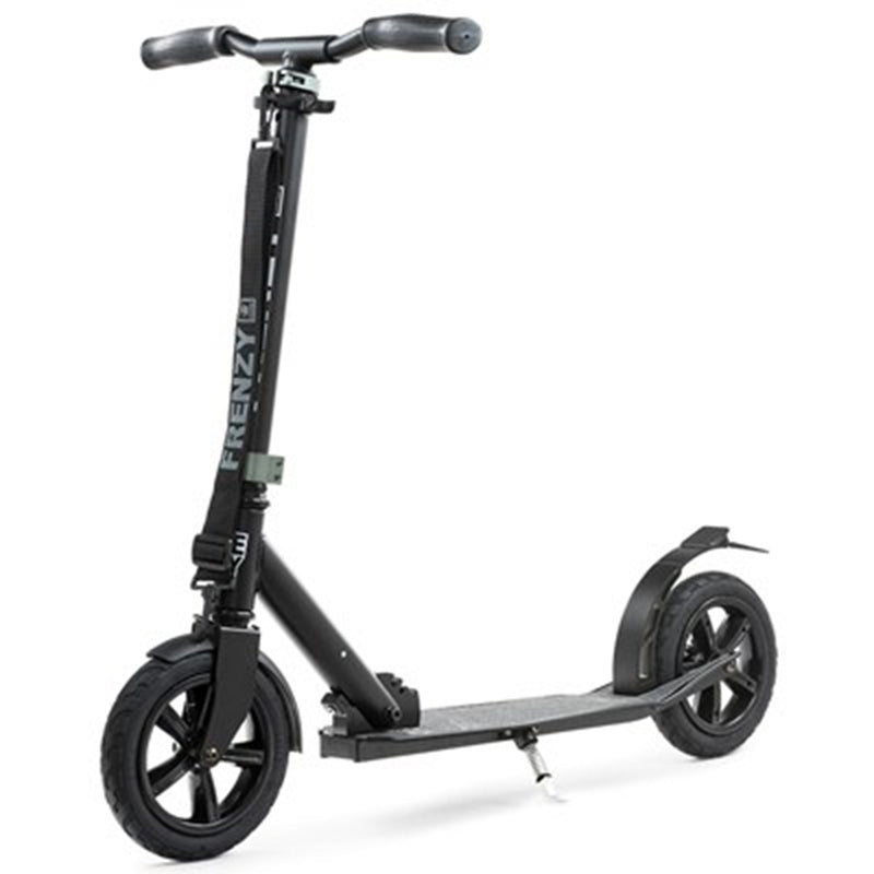 Frenzy Scooters 205mm Pneumatic Folding Scooter, Black Stunt Scooter Frenzy Scooters