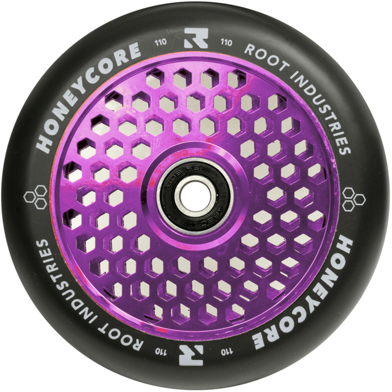 Root Industries Scooters Honeycore Stunt Scooter Wheels 110mm, Black/Purple Scooter Wheels Root Industries
