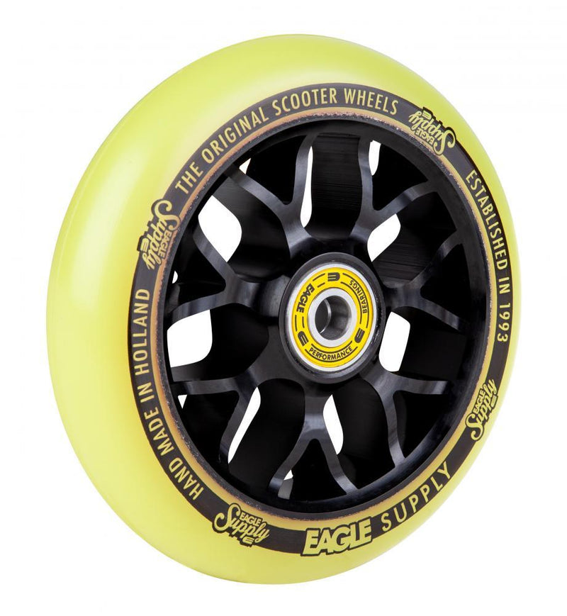 Eagle Supply 110mm Pro Stunt Scooter Wheel, Standard X6 Core - Black/Yellow Scooter Wheels Eagle Supply Co