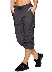 RBX Active Women's Lightweight Body Skimming Drawstring Woven Capri Pant,Charcoal Grey,Small