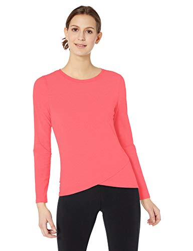 Amazon Essentials Women's Studio Long-Sleeve Lightweight Cross-Front T-Shirt, -bright pink, Medium