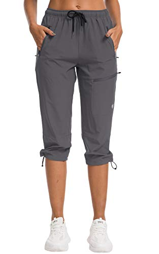 ChinFun Women's Hiking Pants Quick Dry Lightweight Outdoor Capris Water Resistant, UPF50+ Grey M-