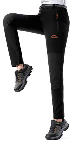 DAFENGEA Women's Hiking Pants Outdoor Waterproof Quick Dry Lightweight Mountain Cargo Pants,KZ1833W-Black-XL