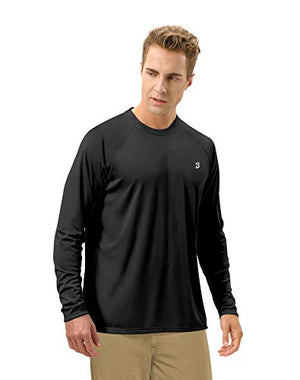 Roadbox Men's Sun Protection UPF 50+ UV Outdoor Long Sleeve Dri-fit T-Shirt Rashguard for Running, Fishing, Hiking(Large, Black)