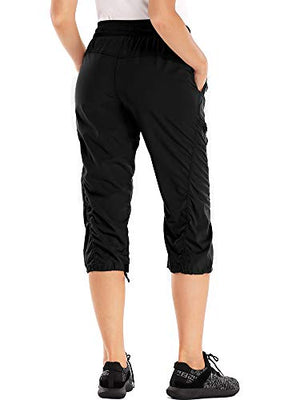 Women's Fashion Lightweight Stretch Quick Dry Shorts for Hiking, Camping, Travel Casual Active Relaxed Drawstring Capri Pant,2181,Black,30