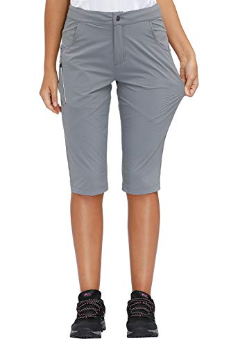Libin Women's Quick Dry Hiking Shorts Lightweight Active Shorts, UPF 50, Water Resistant, Grey M