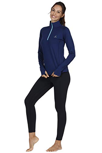 Vanis Women's Workout Yoga Track Jacket Long Sleeve Running Shirt 1/2 Zip Pullover (Blue, Large)