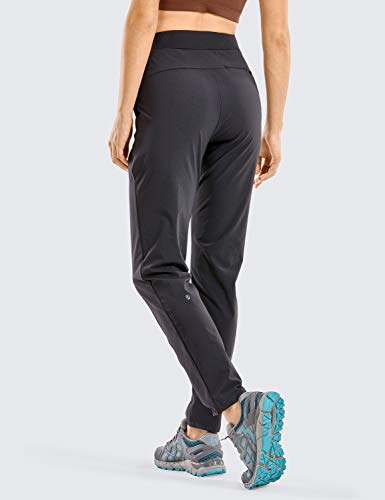 CRZ YOGA Women's Zip-Off Hiking Pants Lightweight Quick Dry Comfy Casual Pants Elastic Waist Straight Leg Black Small