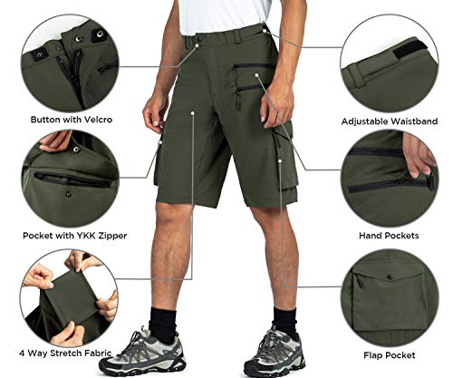 Wespornow Men's-Hiking-Shorts Lightweight-Quick-Dry-Outdoor-Cargo-Casual-Shorts for Hiking (Green, Large)