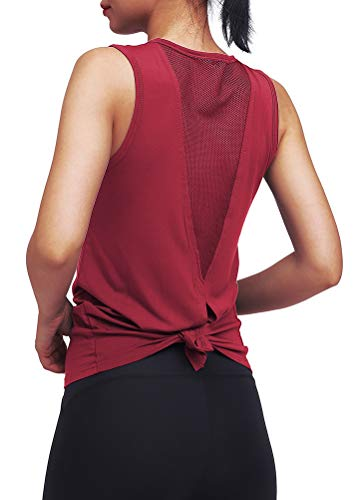 Mippo Workout Tank Tops for Women Workout Shirts Yoga Tops Tie Back Running Athletic Tank Tops Loose fit Muscle Tank Sleeveless Summer Activewear Gym Tops Workout Clothes for Women Wine Red M