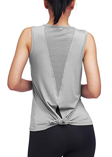 Mippo Workout Tank Tops for Women Workout Shirts Yoga Tops Tie Back Running Athletic Tank Tops Loose fit Muscle Tank Sleeveless Summer Activewear Gym Tops Workout Clothes for Women Gray M