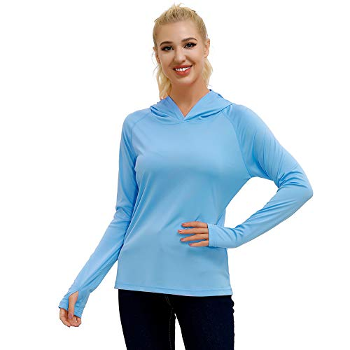 Women's UPF 50+ Sun Protection Long Sleeve T-Shirt Outdoor Rashguard Hiking Hoodies Athletic Top SPF Shirt All Season