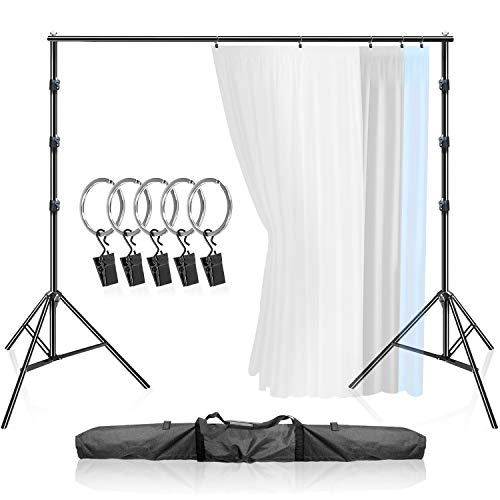 LimoStudio 10 ft Wide x 9.4 ft Tall, Curtain Style Background Support System, Strong Sturdy Stable Backdrop Stand with 5-pcs Ring Clip Holder for Photography, Family Event, AGG3003