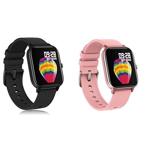 AMATGE Smart Watch(Black&Pink) for Android Phones iPhone