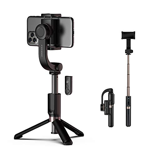 Selfie Stick Tripod - Bluetooth, MOMAX Anti-Shake Handheld Extendable Phone Tripod