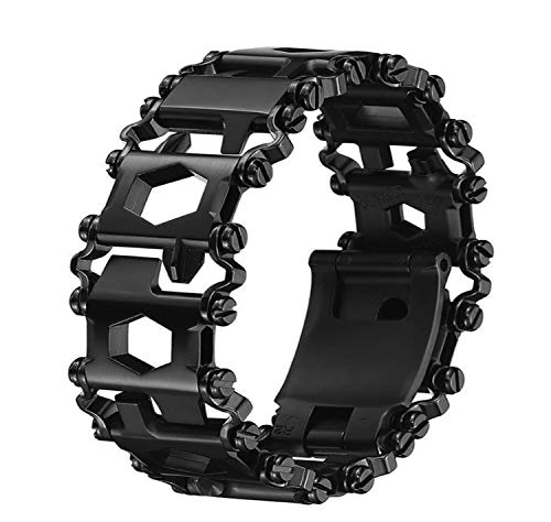 Multi Stainless Tool Bracelet for Men, 29 in 1Multitools Hiking Camping Travel Survival Friendly Wearable Multitool Tread Bracelet (Black)