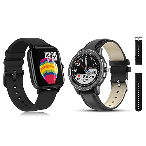 AMATAGE Smart Watch(P8&CF19) for Android Phones iPhone,Black1&Black1