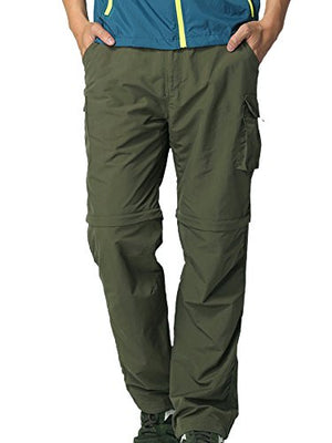 Mens Hiking Pants Convertible Zip Off Fishing Travel Safari Quick Dry Lightweight Trousers #225,Army Green,XXXL 42