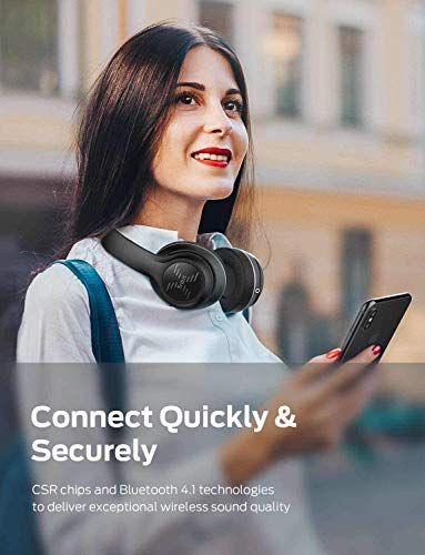 Tribit XFree Tune Bluetooth Headphones, [40h Playtime] Bluetooth Headphones Over Ear with Hi-Fi Stereo Sound & Rich Bass, Cnet's Award, Comfortable Headphones with Microphone & Foldable, Black