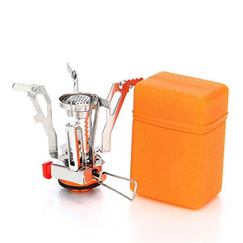 LATOO Ultralight Portable Camping Stoves Backpacking Stove Collapsible with Piezo Ignition Adjustable Valve Stainless Steel Material for Backpacking, Hiking,Mountaineering, 3.4oz