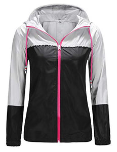 UUANG Women's Waterproof Thin Jacket for Hiking Riding Bike Grey/Black