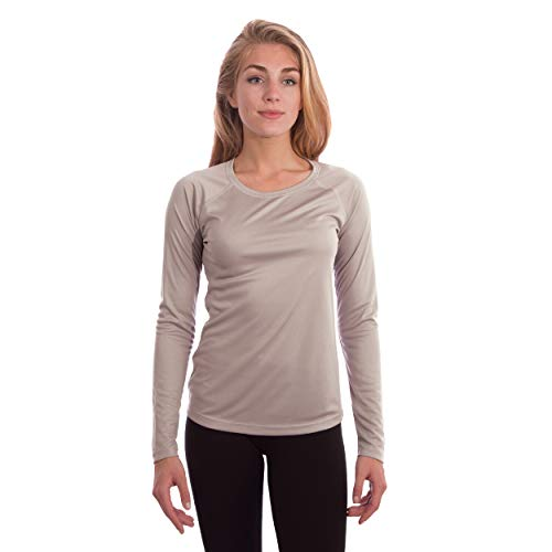 Vapor Apparel Women's UPF 50+ UV Sun Protection Long Sleeve Performance Slim Fit T-Shirt for Sports and Outdoor Lifestyle, Large, Athletic Grey