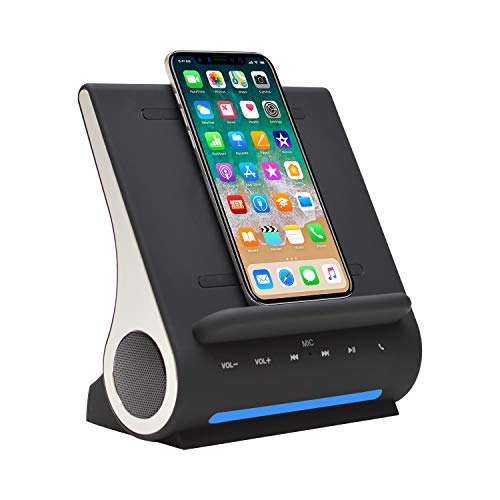 Azpen Dockall D100 - Qi Wireless Charger, Bluetooth Premium Speakers, Docking Station with Built in Mic Handsfree call, 3 in 1 Station for iPhone and Samsung phone