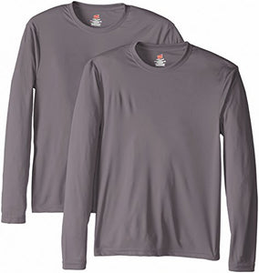 Hanes Men's Long Sleeve Cool Dri T-Shirt UPF 50+, Large, 2 Pack ,Graphite