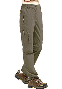 Hiking Pants Women Convertible Outdoor Lightweight Quick Drying Travel Cross Durable Stretch Pants, 4409,Khaki,30