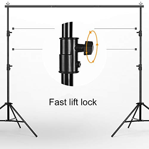 MOUNTDOG Backdrop Support Stand 10x6.5ft Adjustable Photography Studio Background Support System Kit with Carrying Bag for Photo Video Shooting