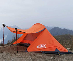 Camppal 1 Person Tent Backpacking Camping Hiking Mountain Hunting Tent Lightweight and Waterproof for 4 Season Extreme Space Saving Single Bracket (MT051) (Orange)
