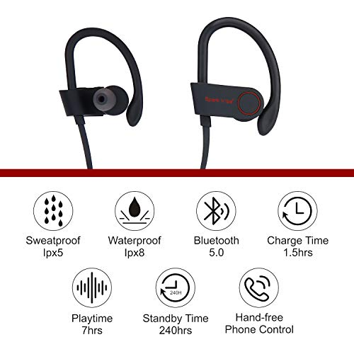 SparkVibe Bluetooth Headphones IPX8 Waterproof, Wireless Sport Earphones, HiFi Bass Stereo Sweatproof Earbuds W/Mic, Noise Cancelling Headset for Workout, Running, Gym, 8 Hours Play time