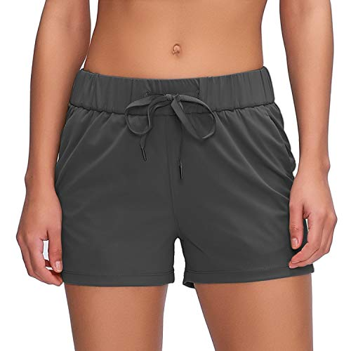 "Willit Women's Yoga Lounge Shorts Comfy Active Running Shorts Casual Workout Hiking Shorts Pockets 2.5"" Deep Gray L"