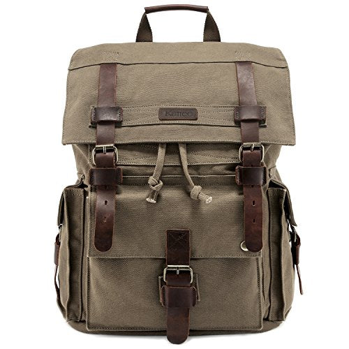 Kattee Men's Leather Canvas Backpack Large School Bag Travel Rucksack Army Green