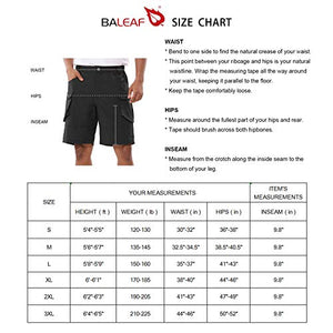 BALEAF Men's Hiking Cargo Shorts UPF50+ Multi Pocketed Quick Dry Tactical Casual Short Summer Outdoor Camping Travel Black L