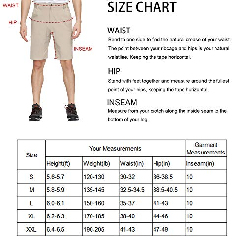 Libin Men's Outdoor Hiking Shorts Lightweight Stretch Quick Dry Cargo Shorts, UPF 50, Water Resistant, Grey M