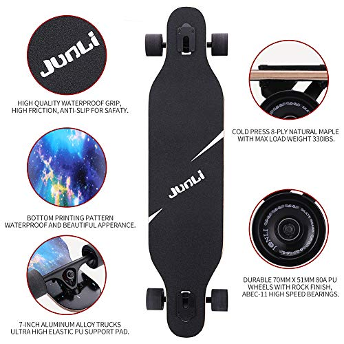 Junli 41 Inch Freeride Longboard Skateboard - Skateboard Cruiser for Cruising, Carving and Downhill(Starlit Night)