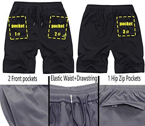 Vcansion Men's Outdoor Lightweight Hiking Shorts Quick Dry Sports Casual Shorts Skateboard Shorts Grey Tag 4XL/39-40