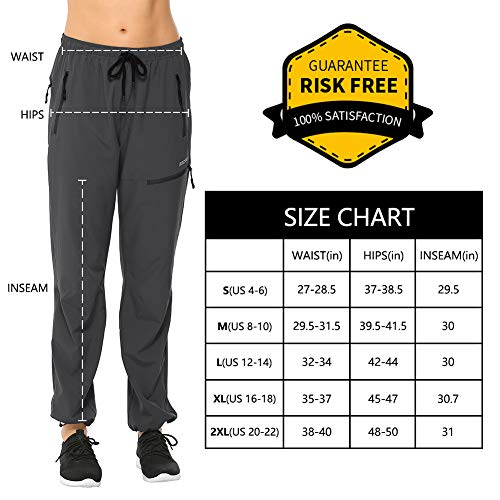 MOCOLY Women's Cargo Hiking Pants Elastic Waist Quick Dry Lightweight Water Resistant Active Long Pants UPF 50+ Grey M