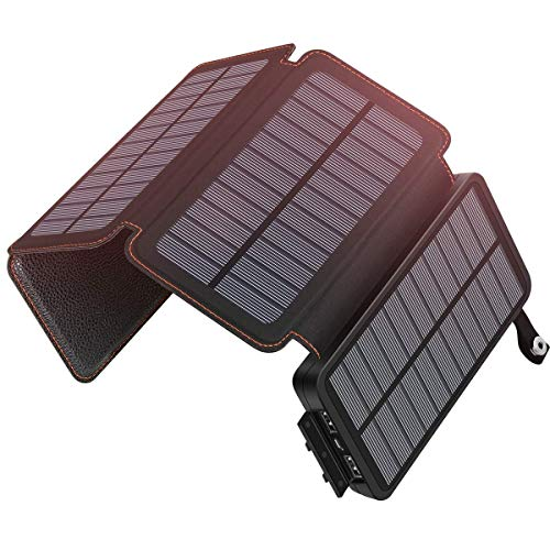 Solar Charger 25000mAh ADDTOP Waterproof Power Bank with 4 Solar Panels Portable Battery Pack