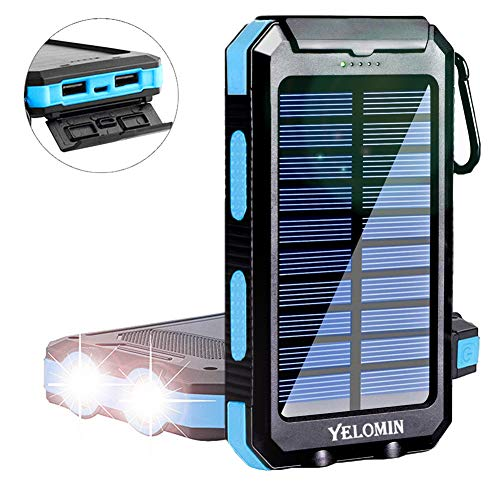 Solar Power Bank,Yelomin 20000mAh Portable Outdoor Mobile Charger, Camping External Backup Battery