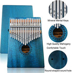 Kalimba Thumb Piano 17 Keys with mahogany Wood Portable Mbira Finger Piano Gifts for Kids and piano Beginners Professional (Bright blue)