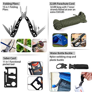 Emergency Survival Kit 47 in 1 Professional Survival Gear Tool First Aid Kit SOS Emergency Tactical Flashlight Knife Pliers Pen Blanket Bracelets Compass with Molle Pouch for Camping Adventures