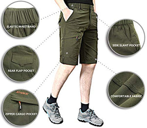 EXEKE Men's Quick-Dry Hiking Shorts Lightweight Cargo Shorts 267-Army green-1XL/34