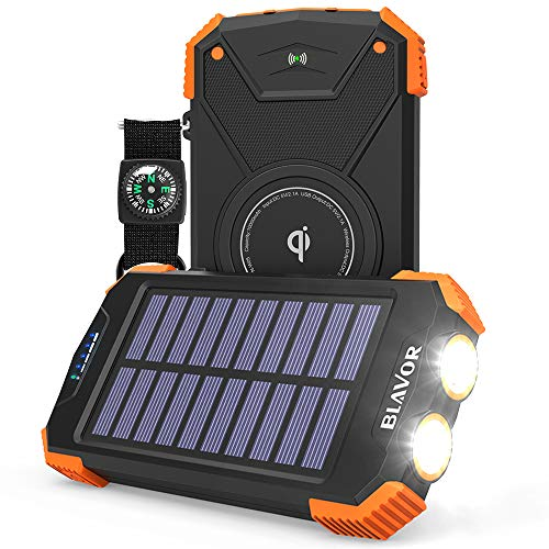 Solar Power Bank, Qi Portable Charger 10,000mAh External Battery Pack